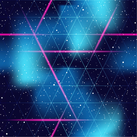 1980's inspired retrofuturistic seamless pattern. Graphics are grouped and in several layers for easy editing. The file can be scaled to any size Illustration