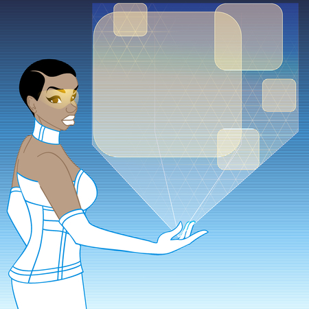 image size: retrofuturistic image in blue  orange tones of a black woman holding a holographic display. Graphics are grouped and in several layers for easy editing. The file can be scaled to any size.