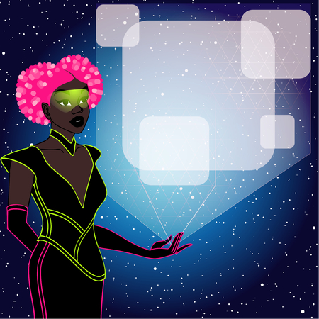 retrofuturistic image of a pink haired black woman holding a holographic display. Graphics are grouped and in several layers for easy editing. The file can be scaled to any size.