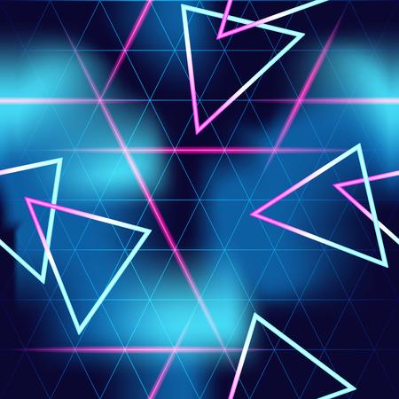 1980 geïnspireerde retrofuturistic naadloos patroon. Graphics zijn gegroepeerd en in verschillende lagen voor eenvoudige bewerking. Het bestand kan worden geschaald naar elke grootte. Vector Illustratie