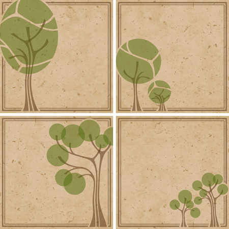 Set of tan and green environmental backgrounds. Graphics are grouped and in several layers for easy editing. The file can be scaled to any size.