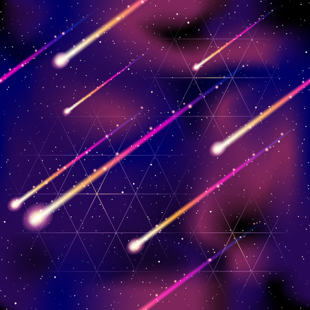 vibrant background: Futuristic purple seamless space pattern with meteors. Graphics are grouped and in several layers for easy editing. The file can be scaled to any size.