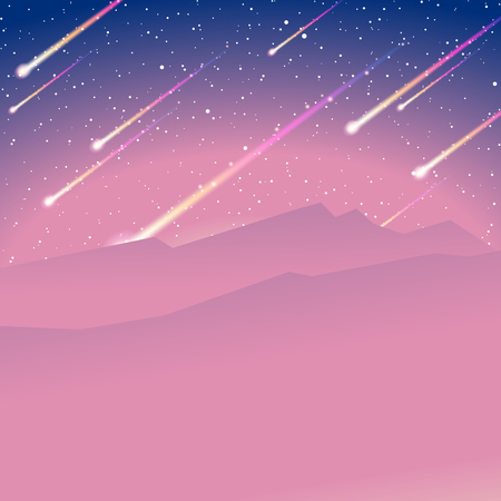 meteor shower: Space background with meteors. Graphics are grouped and in several layers for easy editing. The file can be scaled to any size. Illustration