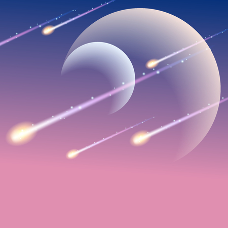 meteor shower: Futuristic space background with meteors. Graphics are grouped and in several layers for easy editing. The file can be scaled to any size.