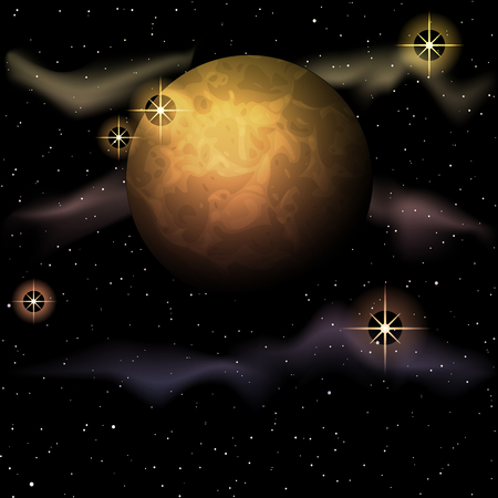 any size: Space background with a planet and sparkles. Graphics are grouped and in several layers for easy editing. The file can be scaled to any size. Illustration