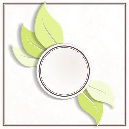 Off-white and green round environmental emblem. Graphics are grouped and in several layers for easy editing. The file can be scaled to any size. Ilustrace