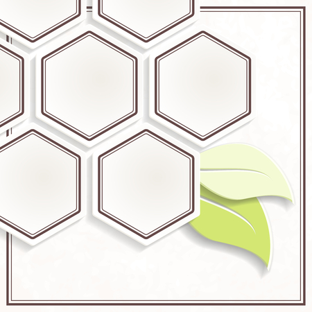 Off-white and green hexgonal environmental emblem. Graphics are grouped and in several layers for easy editing. The file can be scaled to any size.
