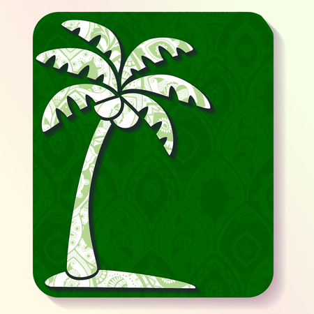 palm tree: Vacation illustration of a palm tree silhouette filled with very intricate patterns. Graphics are grouped and in several layers for easy editing. The file can be scaled to any size.
