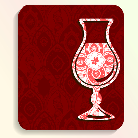 any size: Vacation illustration of a glass silhouette filled with very intricate patterns. Graphics are grouped and in several layers for easy editing. The file can be scaled to any size. Illustration