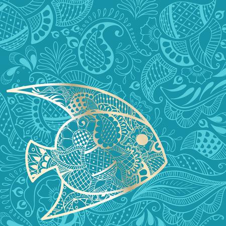 eleganz: Urlaub Hintergrund mit goldenen Fisch Silhouette und Henna-Tattoo inspiriert Muster. Grafiken werden gruppiert und in mehreren Schichten für die einfache Bearbeitung. Die Datei kann auf jede beliebige Größe skaliert werden.