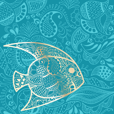 teal background: Vacation background with golden fish silhouette and henna tattoo inspired patterns. Graphics are grouped and in several layers for easy editing. The file can be scaled to any size.