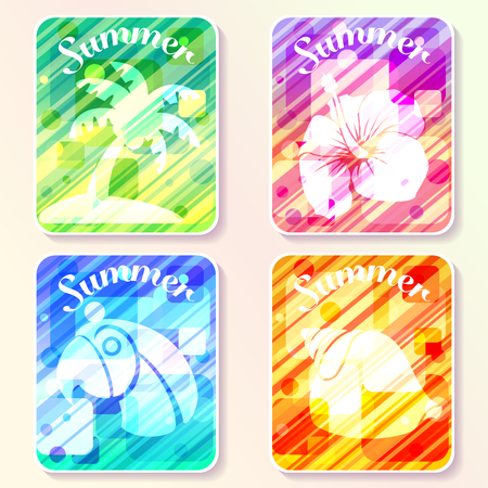 Four brightly colored summer themed layouts with abstract patterns and transparencies. Graphics are grouped and in several layers for easy editing. The file can be scaled to any size. Illustration