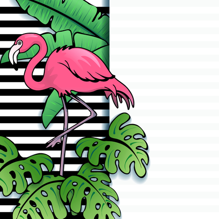 any size: Brightly colored line art tropical with stripes and a flamingo. Graphics are grouped and in several layers for easy editing. The file can be scaled to any size.