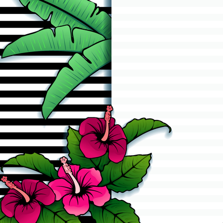 vintage floral: Brightly colored line art tropical with stripes and hibiscus flowers. Graphics are grouped and in several layers for easy editing. The file can be scaled to any size.