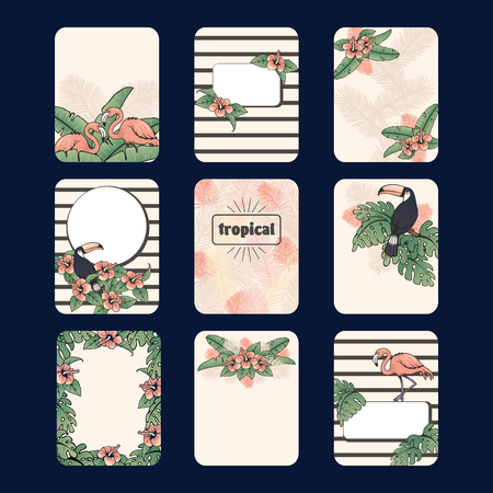 Set of 9 French retro style tropical designs. Graphics are grouped and in several layers for easy editing. The file can be scaled to any size.
