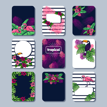 Set of 9 brightly colored line art tropical designs. Graphics are grouped and in several layers for easy editing. The file can be scaled to any size.