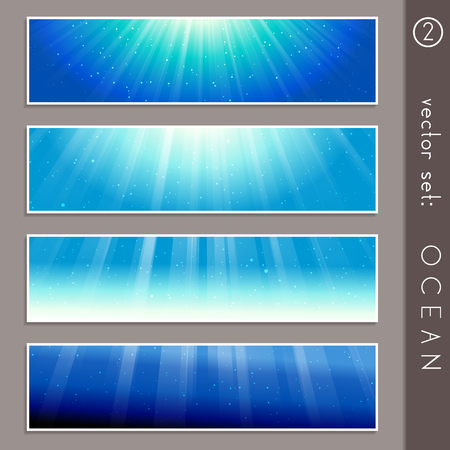 any size: Set of four elegant underwater banners. Graphics are grouped and in several layers for easy editing. The file can be scaled to any size. Illustration