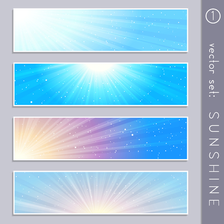 Set of four elegant sky and sunlight banners in cool tones. Graphics are grouped and in several layers for easy editing. The file can be scaled to any size. Illustration