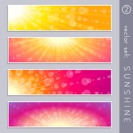 Set of four elegant sky and sunlight banners in vibrant colors. Graphics are grouped and in several layers for easy editing. The file can be scaled to any size. Ilustrace