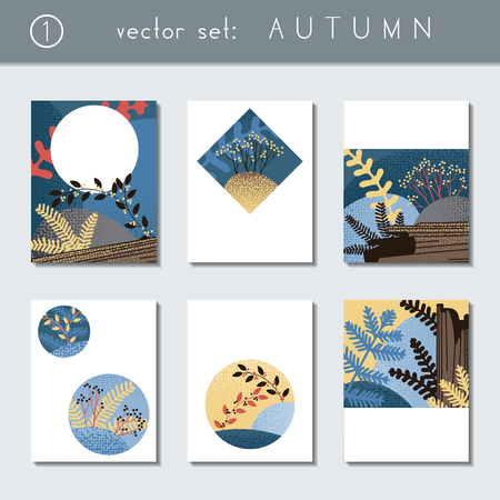 Set of 6 stylized autumn forest designs. US Letter size. Easily croppable to A4 size. Graphics are grouped and in several layers for easy editing. The file can be scaled to any size. Ilustrace