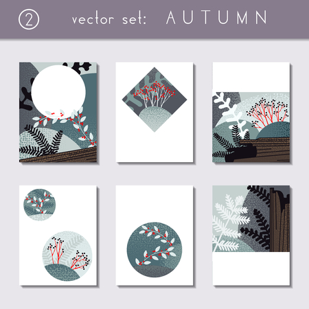 set of 6 stylized autumn forest designs us letter size easily