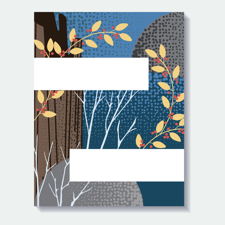 Stylized autumn forest design. US Letter size. Easily croppable to A4 size. Graphics are grouped and in several layers for easy editing. The file can be scaled to any size. Ilustrace