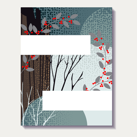 any size: Stylized autumn forest design. US Letter size. Easily croppable to A4 size. Graphics are grouped and in several layers for easy editing. The file can be scaled to any size. Illustration