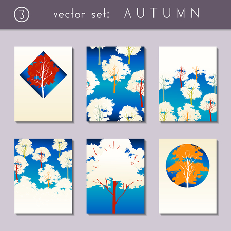 scaled: Set of 6 vibrant  autumn forest designs. US Letter size. Easily croppable to A4 size. Graphics are grouped and in several layers for easy editing. The file can be scaled to any size.