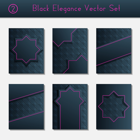 intricate: Set of 6 intricate and elegant black brochure designs with bright pink details. US Letter size.