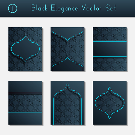 Set of 6 intricate and elegant black brochure designs with bright blue details. US Letter size. Easily croppable to A4 size. Graphics are grouped and in several layers for easy editing. The file can be scaled to any size. Reklamní fotografie - 64625607