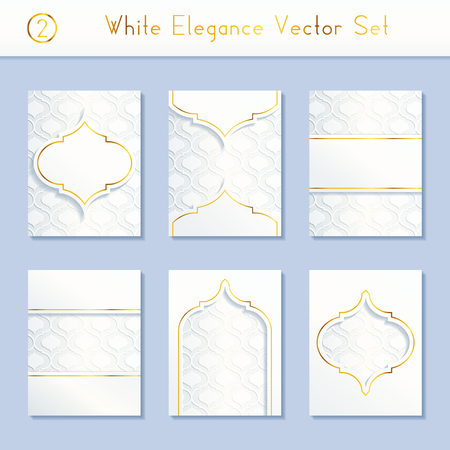intricate: Set of 6 intricate and elegant white brochure designs with gold details. US Letter size.
