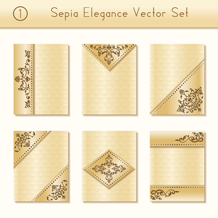 intricate: Set of 6 intricate and elegant sepia brochure designs with floral details. US Letter size. Illustration