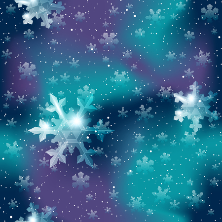any size: Dark blue and purple seamless pattern with delicate transparent snowflakes. Graphics are grouped and in several layers for easy editing. The file can be scaled to any size.