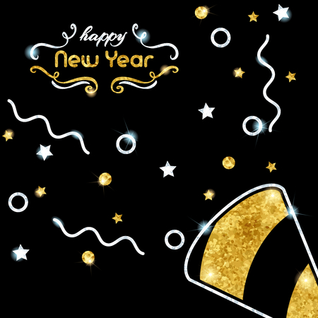 festive background: Elegant black new years eve background with gold and silver party design. Graphics are grouped and in several layers for easy editing. The file can be scaled to any size. Illustration