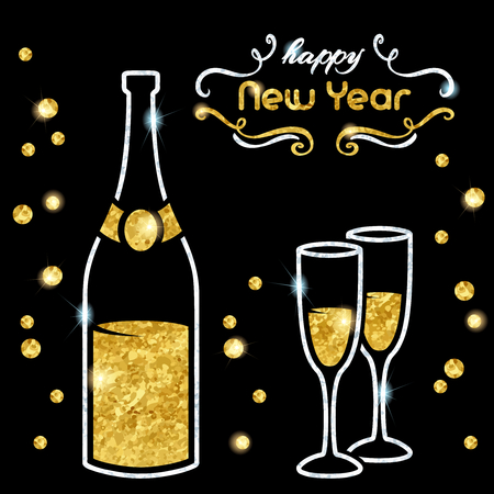 Elegant black new year's eve background with gold and silver champagne design. Graphics are grouped and in several layers for easy editing. The file can be scaled to any size. Reklamní fotografie - 68810463