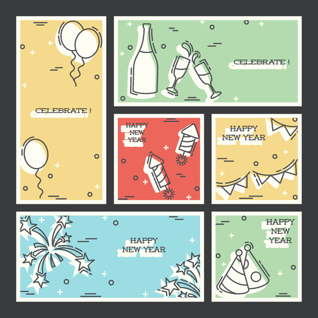 Set of 6 new year's eve backgrounds in thin line style. Graphics are grouped and in several layers for easy editing. The file can be scaled to any size. Reklamní fotografie - 66632711