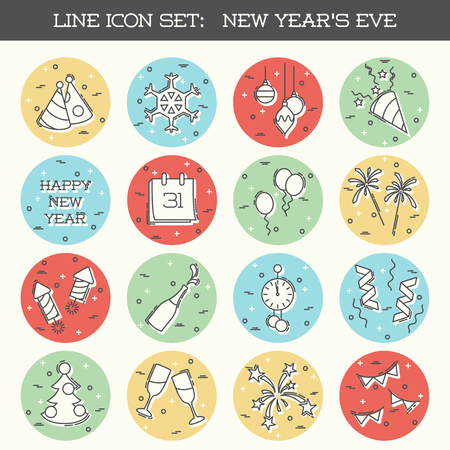any size: Set of 16 thin line style flat icons with a new years eve theme. Graphics are grouped and in several layers for easy editing. The file can be scaled to any size.