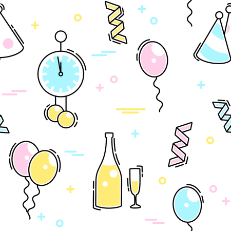 any size: Thin line style seamless pattern with a new years eve theme. Graphics are grouped and in several layers for easy editing. The file can be scaled to any size.