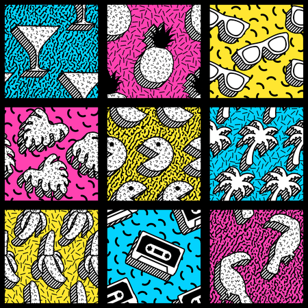 9 vibrantly colorful memphis style seamless patterns with retro 80s shapes.