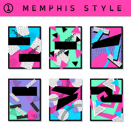 6 vibrantly colorful memphis style covers with geometric shapes. US Letter size. Easily croppable to A4 size. Graphics are grouped and in several layers for easy editing. The file can be scaled to any size. Reklamní fotografie - 73106441