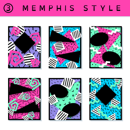 black background: 6 vibrantly colorful memphis style covers with geometric shapes. US Letter size. Easily croppable to A4 size. Graphics are grouped and in several layers for easy editing. The file can be scaled to any size. Illustration