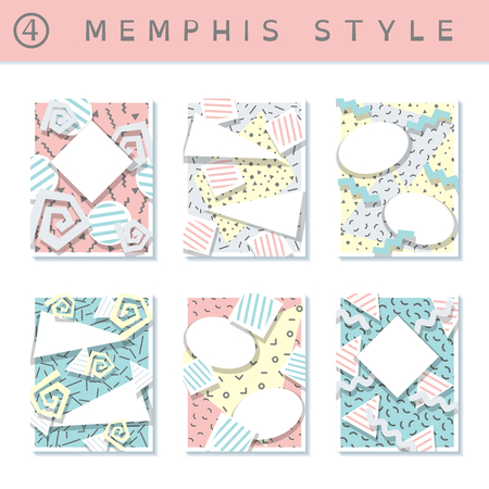 6 pastel colored memphis style covers with geometric shapes. US Letter size. Easily croppable to A4 size. Graphics are grouped and in several layers for easy editing. The file can be scaled to any size. Reklamní fotografie - 73016854