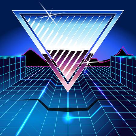 1980s inspired sci-fi background with chrome and neon. Graphics are grouped and in several layers for easy editing. The file can be scaled to any size.