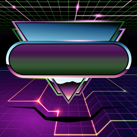 1980's inspired sci-fi background with chrome and neon. Graphics are grouped and in several layers for easy editing. The file can be scaled to any size. Reklamní fotografie - 73579202