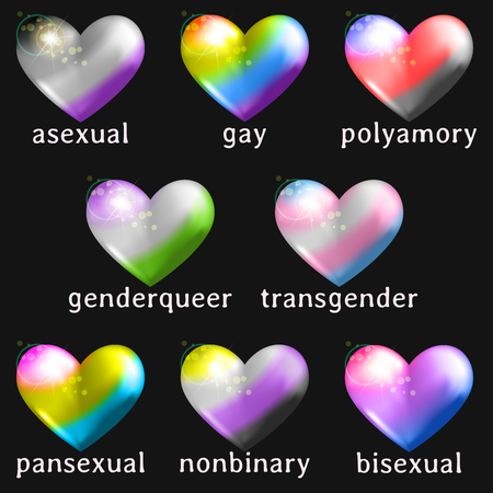 8 heart shaped icons with the flag colors of different gender or sexuality minorities. Graphics are grouped and in several layers for easy editing. The file can be scaled to any size.