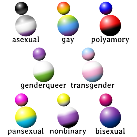 8 people shaped icons with the flag colors of different gender or sexuality minorities. Graphics are grouped and in several layers for easy editing. The file can be scaled to any size. Illustration