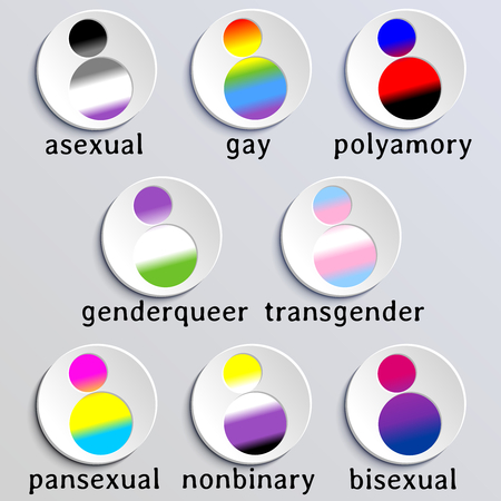 8 people shaped buttons with the flag colors of different gender or sexuality minorities. Graphics are grouped and in several layers for easy editing. The file can be scaled to any size. Illustration