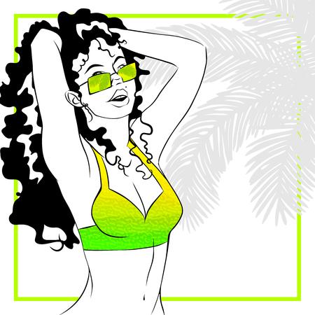 Tropische lijn kunst illustratie van een krullendharige vrouw in lime groen. Grafieken zijn gegroepeerd en in meerdere lagen voor makkelijk bewerken. Het bestand kan op elke maat worden geschaald.