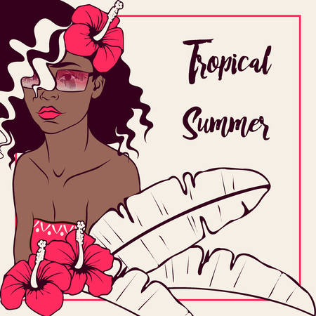 latina: Tropical line art illustration of a curly haired brown-skinned woman surrounded by hibiscus flowers. Graphics are grouped and in several layers for easy editing. The file can be scaled to any size. Illustration