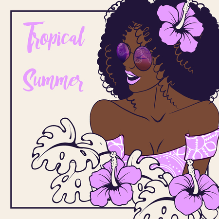 Tropical line art illustration of a curly haired brown-skinned woman surrounded by hibiscus flowers. Illustration